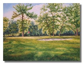corporate art, commission a painting, golf painting, Liron Sissman