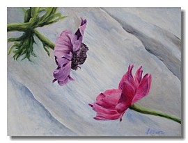 Flower painting, allure, Liron Sissman, Purple poppies, metaphorical nature