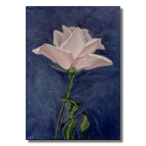Pink rose flower oil painting, Liron Sissman, Aspiration, blue, pink, rose, metapho