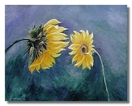 Sunflower oil painting, Liron Sissman, Blue, yellow, Conversation, metaph