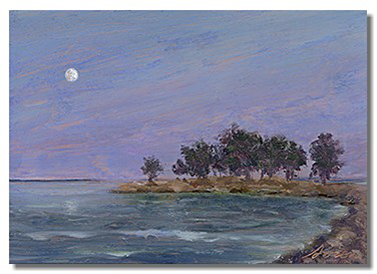 Moonlight painting, healing art, oil on copper painting, liron sissman, oil painting on copper, art