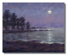 Healing art, nature art, moonlight, night painting, liron sissman