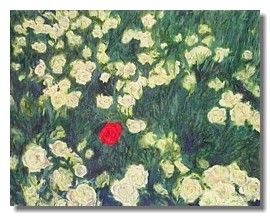 Flower painting, Green, Red, Liron Sissman, Individualism, metaphorical nature