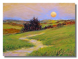 Healing art, hospital art, healthcare art, sunset painting, liron sissman, oil on copper