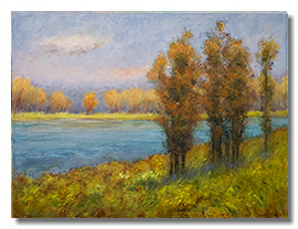 Fall painting, fall colors, trees, water, healing art, art for hospitals, liron sissman