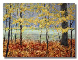 Healing art, nature art for healthcare, art for hospitals, landscape painting, water, trees, fall fo