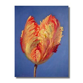 French Tulip, Flower oil painting, Liron Sissman, blue, yellow, red, rebirth, metaphorical