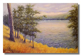 Healing art, nature art for healthcare, art for hospitals, liron sissman, landscape painting, boats,