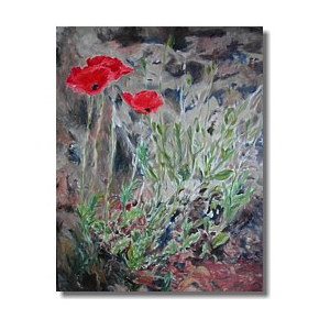 Red poppies oil painting, Liron Sissman, art for healing