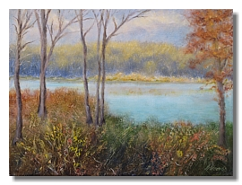 Healing art for healthcare, Fall landscape, water and trees, liron sissman