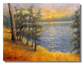 Healing art, nature art, art for healthcare, art for hospitals, landscape painting, sun rise, sun se
