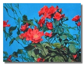 Flower painting, Blue, oil painting, Liron Sissman, metaphorical nature