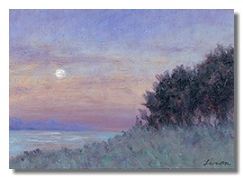 Healing art, hospital art, healthcare art, moonlight painting, liron sissman, oil on copper, giclee